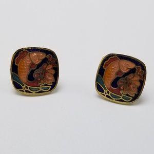 Vintage Cloisonne Earrings Koi Earrings Flower